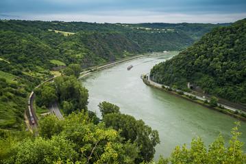 Loreley-Aussicht in südliche Richtung auf den Rhein