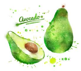 Watercolor avocado.