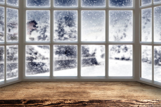 wooden window and winter