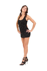 young woman posing in little black dress