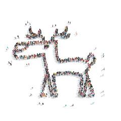 people in the shape of deer