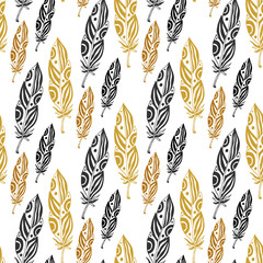 Cute seamless pattern with feathers on white background. Vintage tribal feather in black and gold colors. Doodle zentangle feather
