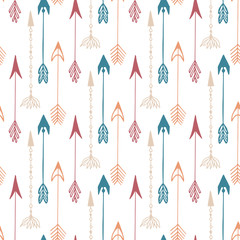 Seamless pattern of vintage arrow. Hand drawn arrows texture for textile, print, web, wrapping. Vector