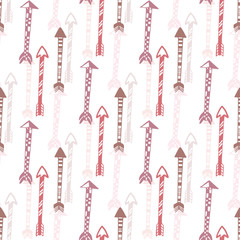 Seamless background of vintage arrow. Hand drawn ethnic arrows texture for textile, print, web. Vector