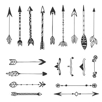 Hand drawn arrows collection. Ethnic ink set. Isolated vector
