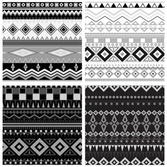 Set of 4 black and white geometric seamless patterns. Vector backgrounds collection,pattern swatches included.