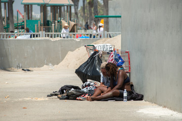 LOS ANGELES, USA - AUGUST 5, 2014 - homeless in venice beach
