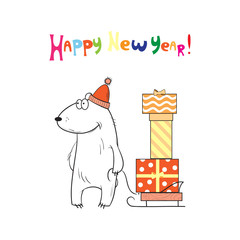 New Year's card with cute cartoon polar bear carrying on a sledge of a box with gifts.