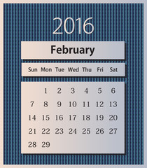 Sample calendar 2016 on knitted background vector, February