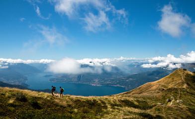 family trekking - over Como lake