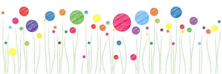 Banner | bunte Blumenwiese | Scribble Skizze Zeichnung