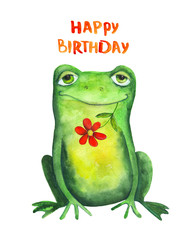 Frog with flower. Happy birthday. Watercolor