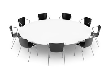 Black Office Chairs and Conference Round Table