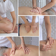 Sports Massage Therapy Collage -   Five different views of a sports massage therapist using different massage techniques on male client