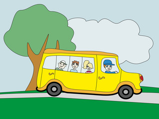 Illustration of a school bus heading to school with happy childr