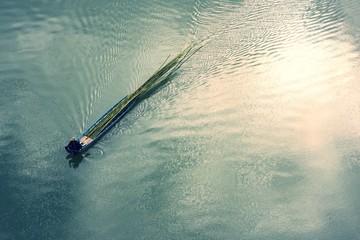 Small boat in river in the sangkhlaburi kanchanaburi thailand