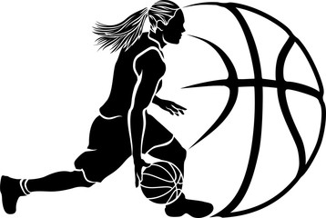 Female Basketball Dribble Sihouette with Ball