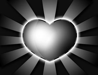 Retro Heart / Schwarz weisses Retro Herz