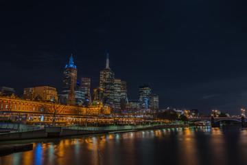 Night time, Melbourne city, Victoria, Australia.
