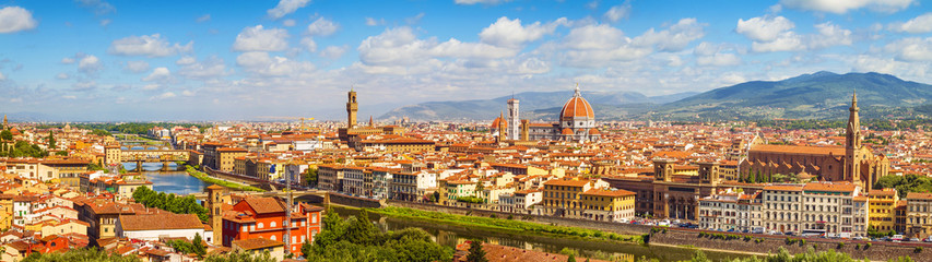 Acrylic Prints Florence Florence panorama Ponte Vecchio, Palazzo Vecchio, Cathedral Santa Maria Del Fiore and Basilica di Santa Croce from Piazzale Michelangelo (Tuscany, Italy)