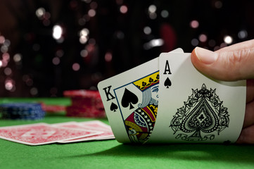 Playing cards in a game of poker