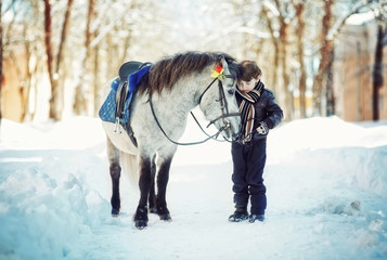 Little child boy and  pony