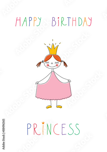 Design Of Doodle Birthday Greeting Card With Cute Little Princess On White Background
