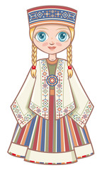 girl in the Latvian suit. Historical clothes. Linear pattern on a white background.  Line drawing festive. Vector drawing