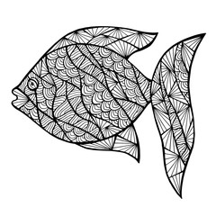 Stylized vector fish, zentangle