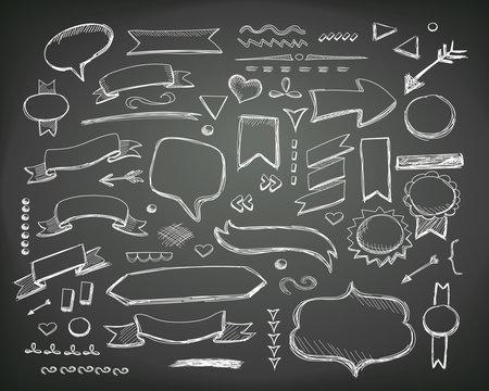 Hand drawn sketch elements. Vector chalkboard illustration.