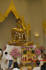Solid gold five ton statue of the Buddha in Wat Traimit.Bangkok,Thailand
