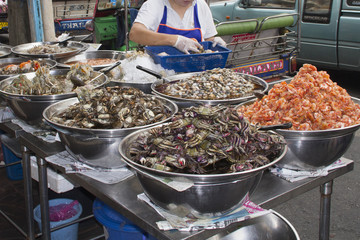 Seafood for sale at a street stall in Chinatown.Bangkok,Thailand..