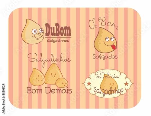 etiquetas tags adesivos logos salgadinhos stock image and