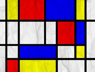 Mondrian Style Hintergrund mit Schleier