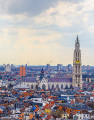 Fotobehang Antwerpen View over Antwerp with cathedral of our lady taken from the top of mas museum.