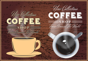 patterns of coffee with inscriptions on background with texture of wood