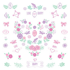 The set of hand drawn decorative floral elements for Valentine's Day, mother's day, birthday, wedding. Vintage color heart of flowers. Doodles, sketch. Vector illustration.