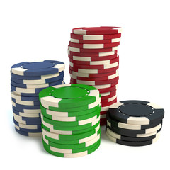 3d illustration of poker chips