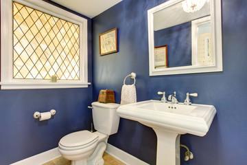 Brilliant bathroom with deep blue interior walls.
