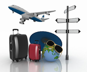 3d suitcases, airplane, globe and umbrella.