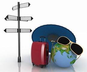 Travel concept. Signpost and suitcases