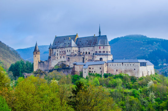 view of the famous vianden castle situated in luxemburg near border with germany.