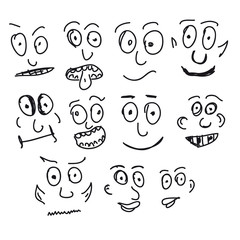 Hand Drawn Set of Funny Faces