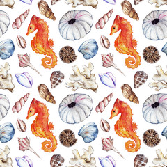 Watercolor sea ocean seahorse seashell coral reef polyp ammonit urchin seamless pattern background