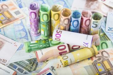 Fondo y textura de negocios y finanzas con billetes  de euro