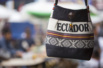 Wool bag hanging at the Andean market of Otavalo, Ecuaor