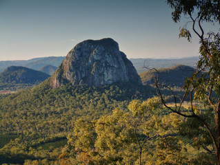 Aerial images view pictures of australian glasshouse mountain range on sunshine coast, queensland tourism holiday area. Mount tibrogargan, mount coonowrin, mt beerwah and mt Tibberoowuccum
