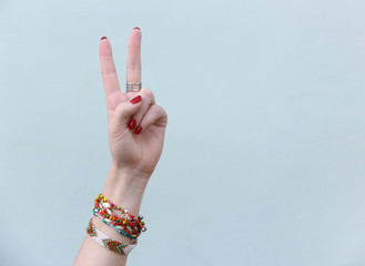 Hand showing peace victory sign