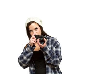 Woman preparing to take photograph