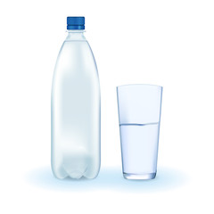 Bottle of water. Glass of water